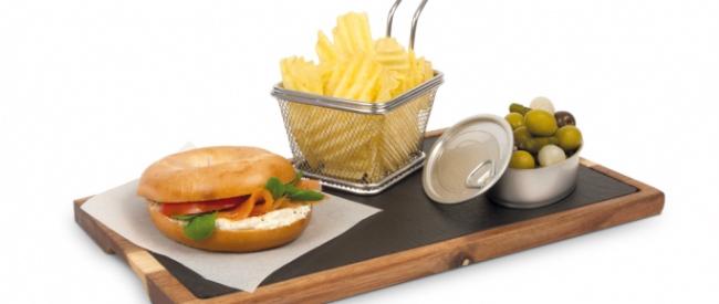 tablas de madera con pizarra, tablas de madera,supreminox,menaje galicia, presentacion original platos,recetas,presentacion recetas